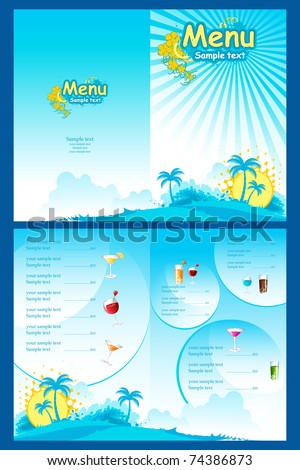 illustration of template for menu on sea beach background - stock vector