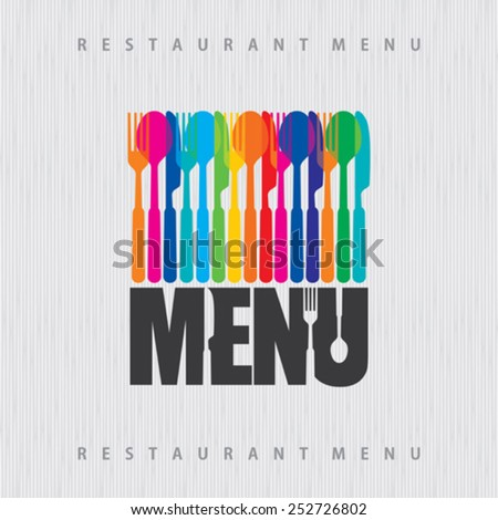 illustration of template for menu or wine card with cutlery - stock vector