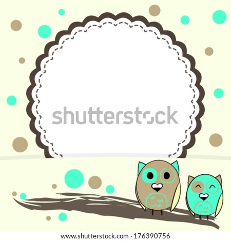 Illustration of Template for postcard yellow background with circles and two owls