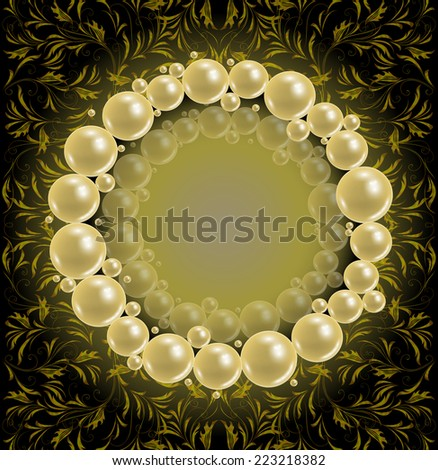 illustration of template for wedding greeting or invitation card with pearl frame and background