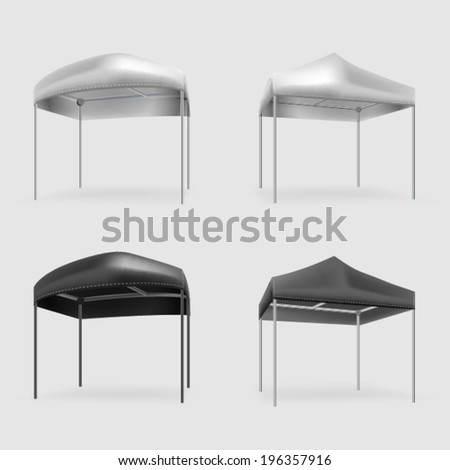 Illustration of tents. Set of black and gray folding tents. Four isolated vector illustrations on gray. - stock vector