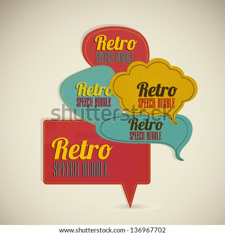 Illustration of text balloons,  retro style and color, vector illustration