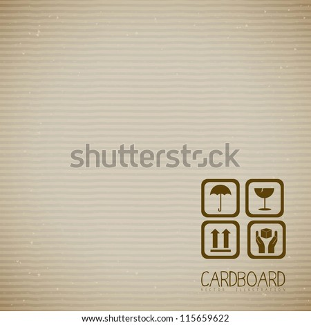Illustration of textured cardboard, corrugated cardboard, vector illustration - stock vector