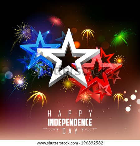 illustration of 4th of july background with firework - stock vector