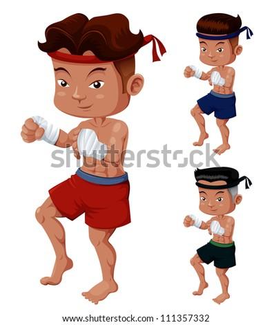 Illustration of Thai Boxing - stock vector