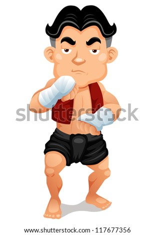 Illustration of Thai Boxing - stock vector