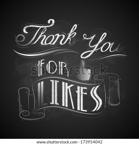 illustration of thank you for likes background - stock vector