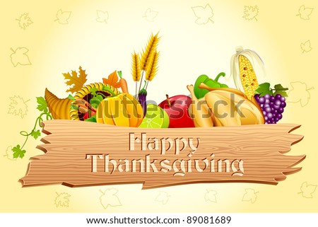 illustration of thanksgiving element with wooden board - stock vector