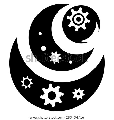 Illustration of the abstract fantasy industrial black silhouette with cogwheels - stock vector