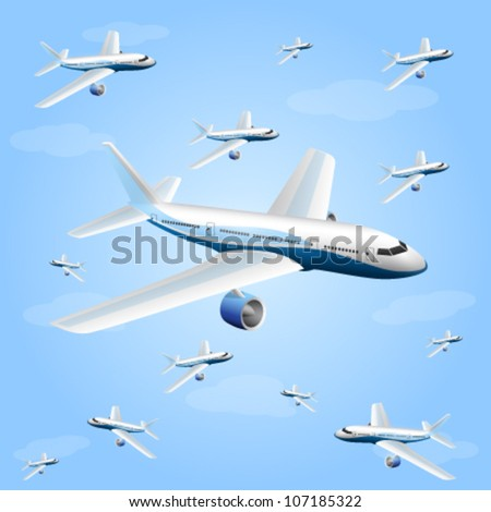 illustration of the airplane - stock vector