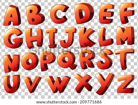 Illustration of the alphabet artwork in orange color on a white background - stock vector