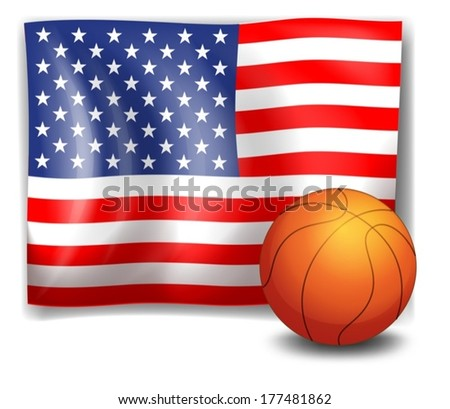 Illustration of the American flag with a ball on a white background