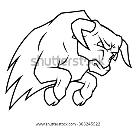 Illustration of the angry bull attacking on white background - stock vector