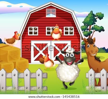 Cartoon Of Big Dog And Tiny Doghouse