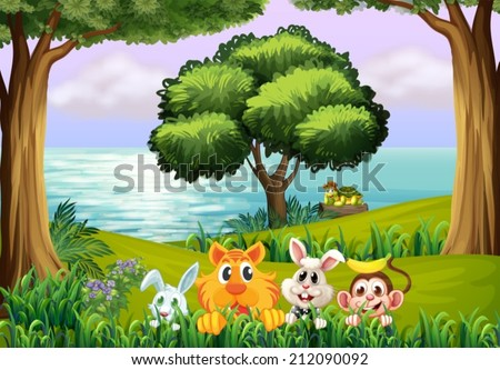Illustration of the animals at the forest - stock vector