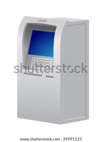Illustration of the automatic teller machine - stock vector
