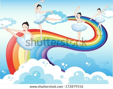 Illustration of the ballet dancers in the sky with a rainbow - stock vector