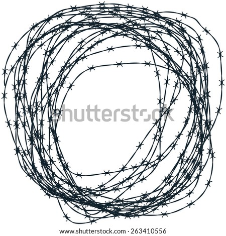 Illustration of the barbed wire clew - stock vector