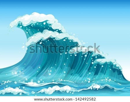 Illustration of the big waves - stock vector