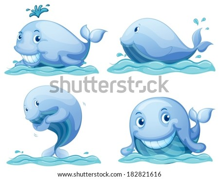 Illustration of the blue whales on a white background - stock vector
