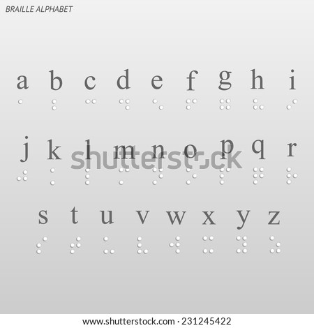 Illustration of the braille alphabet on a light background. - stock vector