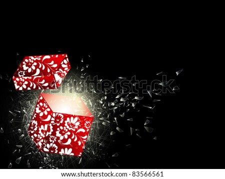 illustration of the broken glass and opened gift box, copyspace for your text - stock vector