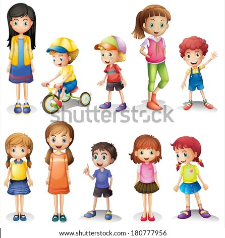 Illustration of the brothers and sisters on a white background - stock vector