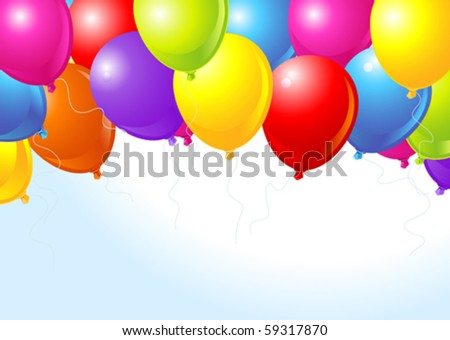 Illustration of the bunch of colorful balloons flying up - stock vector