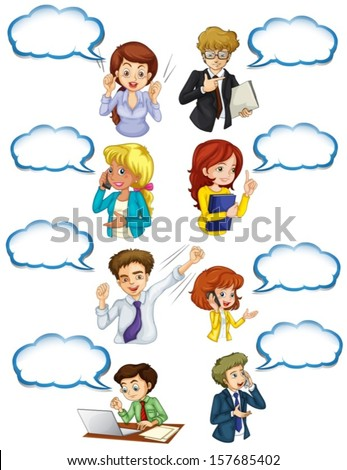 Illustration of the business minded people with empty callouts on a white background - stock vector