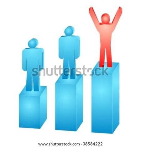 Illustration of the business people on the graph. - stock vector