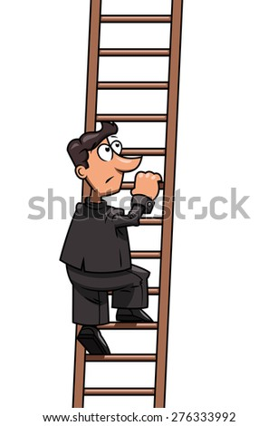 Illustration of the businessman at the beginning of long way up to success - stock vector