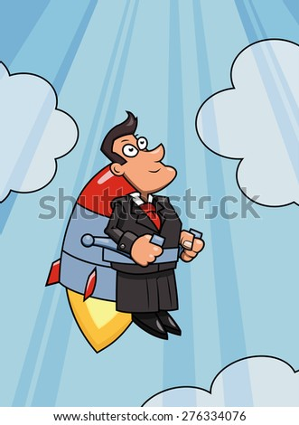 Illustration of the businessman flying up to success by jet pack - stock vector