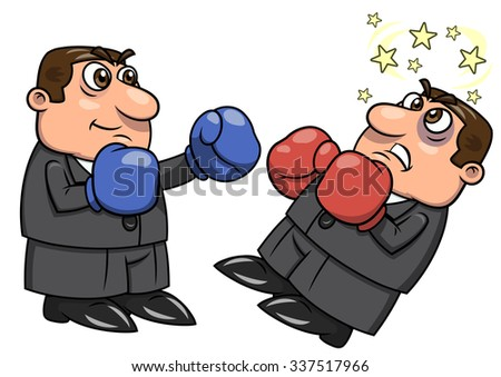 Illustration of the businessmen with boxing gloves punching competitor - stock vector