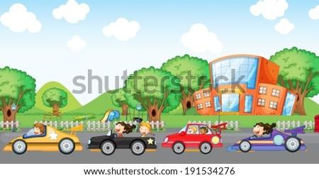 Illustration of the children car racing - stock vector
