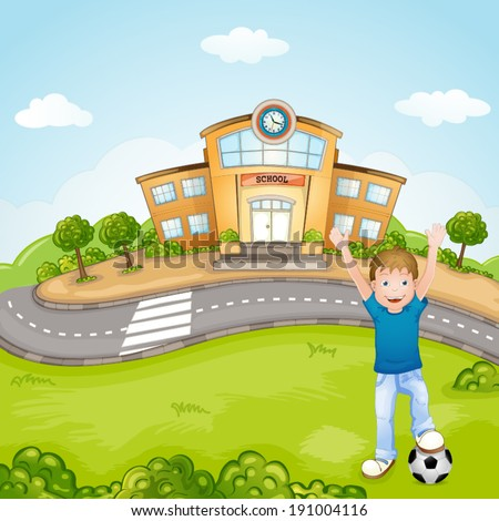Illustration of the children playing in front of the school - stock vector