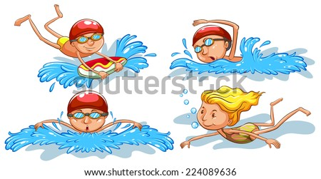 Illustration of the coloured sketches of people swimming on a white background  - stock vector