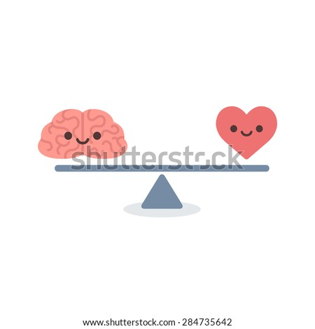 Illustration of the concept of balance between logic and emotion. Cartoon brain and heart with cute faces on a scale. Simple and modern flat vector style, isolated on white background.  - stock vector