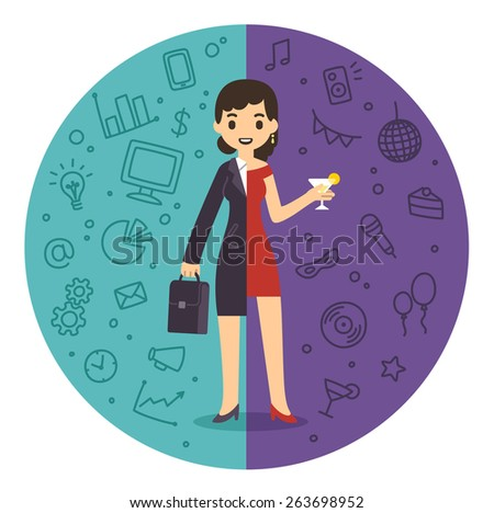 Illustration of the concept of life and work balance. Young businesswoman in suit on the left and having fun on a party on the right. Background is divided in two thematic patterned parts. - stock vector