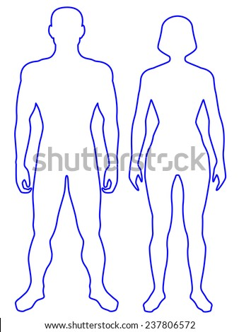 Illustration of the contour human body. Man and woman - stock vector