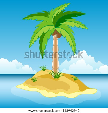 Illustration of the desert island in ocean