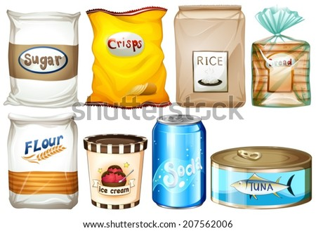 Illustration of the different kind of foods on a white background - stock vector