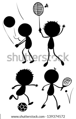 Illustration of the different sport activities in its silhouette forms on a white background - stock vector