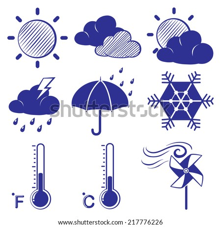 Illustration of the different weather conditions on a white background  - stock vector