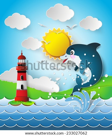 Illustration of the dolphins in sea on the sunlight.paper cut style. - stock vector