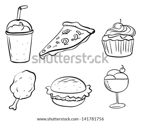 Illustration of the doodle designs of the different foods on a white background - stock vector