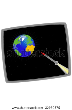 Illustration of the earth being attacked by a missile - stock vector