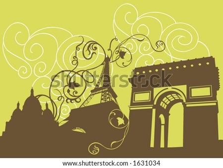 Illustration of the Eiffel tower, the Triumphal Arch and Sacre-Coeur - stock vector