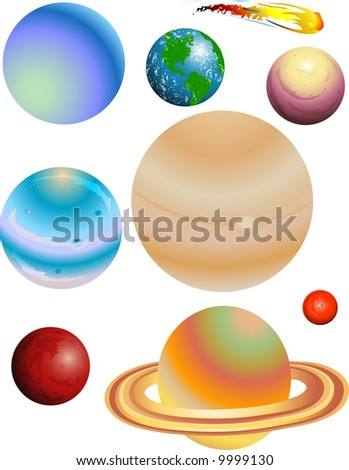 Illustration of the eight planets and a comet - stock vector