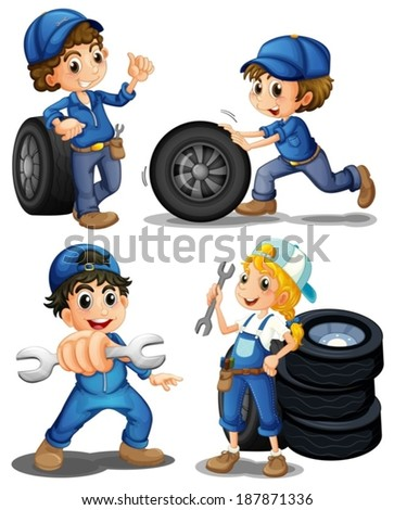 Illustration of the energetic mechanics on a white background - stock vector