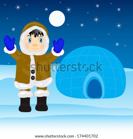 Illustration of the eskimo near by igloo on north - stock vector